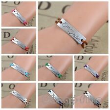 New!9 color -Hot 1D One Direction Silver Tone Braided Leather Bracelet fans gift