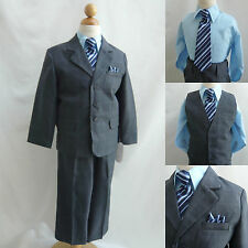 Boy Navy/Light blue plaid & check wedding party tuxedo formal suit all size
