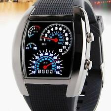 Mens NEW Casual Sports RPM Turbo Blue&White Flash LED Car Speed Meter Dial Watch