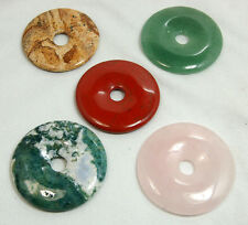 52mm Natural Gemstone Round Donut Ring Pendant Beads Pick Material