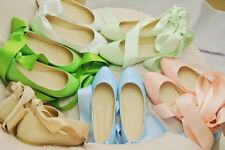 New Girls Ballet Flats Round Toe Ribbons Lace Up 2 kind of Wearing Casual Shoes
