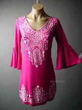 Bright Pink Exotic Ethnic Moroccan Design Bell Sleeve Jersey 86 df Dress S XL