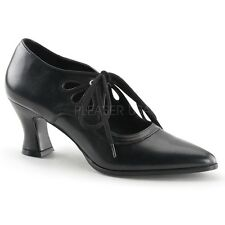 "Gorgeous 2.75"" Black Pointy Victorian Granny Witch Gothic Cutout Pumps 6-12"