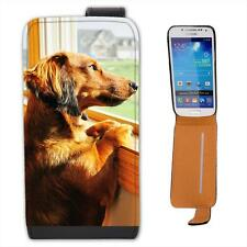 Dachshund Looking Out Of Window Leather Flip Case for Samsung S4 Mini