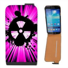 Grunge Nuke Pink Black Leather Flip Case for Samsung S4