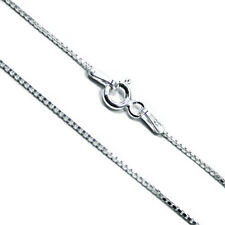 Solid .925 Italian Sterling Silver Square Link Venetian Necklace Box Chain 1mm