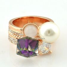 18K Rose Gold GP Clear Swarovski Crystal Cube Dice Stone Pearl Party Ring IR080C