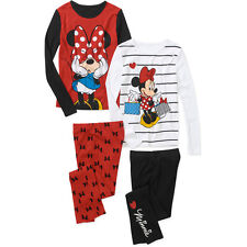 NEW Disney Girls' Minnie Mouse 4PC Cotton Sleep Pajama Set Red & Black 4 6 10