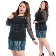 1-4XL Plus Size Black Lace Joint Top Cotton Sexy Blouse Shirt