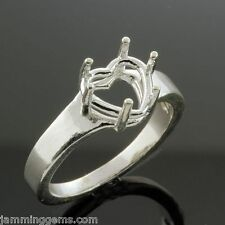 (8mm-10mm) Heart Wide Band Sterling Ring Setting (Ring Sizes 4-12)