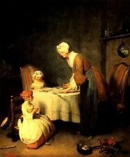 SAYING GRACE BEFORE MEAL MOTHER CHILDREN 1740 BY JEAN BAPTISTE CHARDIN REPRO