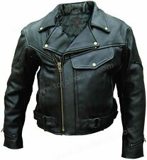 Men's Premium Naked Buffalo Hide Vented Motorcycle Jacket with Zip-Out Lining