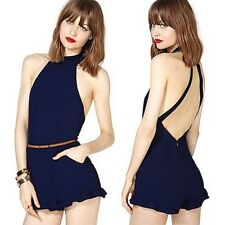 Womens High Street Backless Sexy Rompers Short Jumpsuit Plus Size Jumpsuits #U1