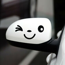 1Pair New Smiley 3D Mini Car Rearview Mirror Decal Sticker Black White Yellow