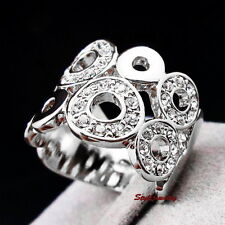 18k White Gold Plated Clear Swarovski Crystal Women Bridal Circle Wrap Ring R172