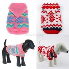 Dog Pet Sweater Clothes Snow/Deer Puppy Knit Coat Hoodie Apparel Small to Large
