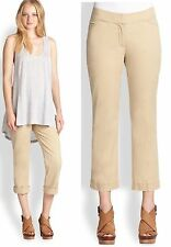 $168 Eileen Fisher Washed Cotton Tencel Stretch Twill Straight Cropped Pants