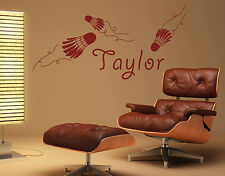 Wall Decal no.RS96 Your Own Words Badminton-Name  Wall Sticker Wall Decal Sports