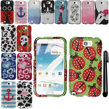 For Samsung Galaxy Note 2 N7100 I317 BLING CRYSTAL HARD Case Phone Cover + Pen