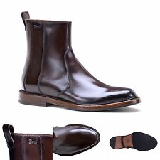 Gucci luxury brown leather chelsea ankle boots with gucci script on the side NIB
