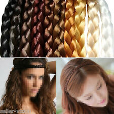 Womens Braided Synthetic Hair Plaited Plait Elastic Headband Hairband Festival
