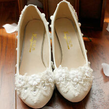 Sparkly White Women Closed Toe Low Heel Flowers Bridal Lace Wedding Shoes