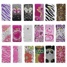 For Nokia Lumia 521 T-Mobile Full Diamond Bling Rhinestone Hard Cell Phone Case