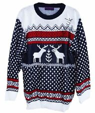 New Unisex Navy White Christmas Xmas Reindeer Jumper Sweater Novelty Classic