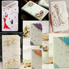 8 Styles Luxury 3D Bling Crystal Rhinestone Flip Wallet PU Leather Case Cover