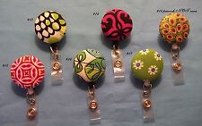 Retractable ID Name Badge Holder Reel clip made with Vera Bradley napkin Remnant