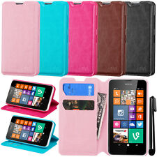 For Nokia Lumia 635 Premium Wallet LEATHER POUCH Flip Case Cover Phone + Pen