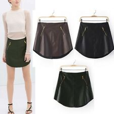 New Womens Sexy Double Zippers Decoration PU  Mini Skirt Faux Leather Tricolor