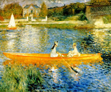 THE SKIFF LAZY SUNNY DAY TWO WOMEN DRIFTING RIVER 1879 PAINTING BY RENOIR REPRO