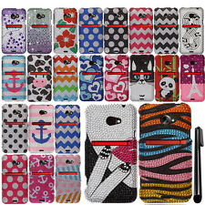 For HTC EVO One 4G LTE DIAMOND BLING CRYSTAL HARD Case Cover Phone + Pen