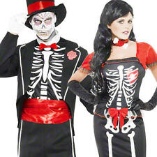 Beautiful Bones Halloween Fancy Dress Skeleton Adult Horror Party Costume Outfit