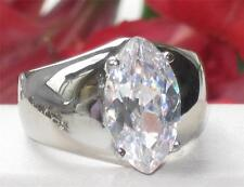 TK1774 SIMULATED DIAMOND RING MARQUISE  CUT 4.8CARAT SOLITAIRE SMOOTH BAND
