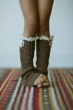 Girls Boutique Knitted Leg Warmer Boot Cuff Socks in Mint,Brown,Gray, One Size