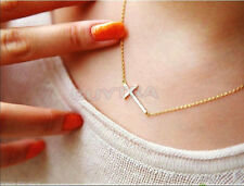 Popular New High Quality Horizontal Sideways Cross Gold/Silver Pendant Necklace