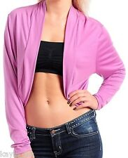 Lavender L/Sleeve Cropped Bolero/Shrug/Cardigan-6 Color