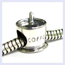 .925 STR Silver Coffee Cup Mug w/ Stirring Spoon Bead f/ European Charm Bracelet