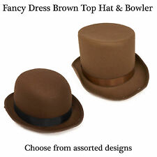 Adult Brown Top Hat / Bowler Hats - Fancy Dress Accessory