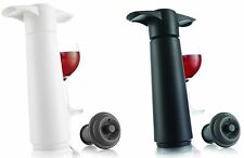 Vacu Vin Wine Preserver Saver Set: Vacuum Pump & 1 Stopper- Black or White