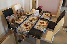 COUNTRY BLUE SUNFLOWER FLORALS TAPESTRY CUSHION COVERS TABLE RUNNER PLACEMATS