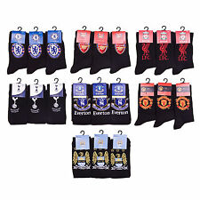 S48 MENS 3prs FOOTBALL CLUB SUPPORTERS TEAM CREST LOGO DESIGN FOOTY SOCKS 6-11