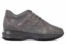 HOGAN WOMEN'S SHOES LEATHER TRAINERS SNEAKERS NEW INTERACTIVE GREY  646