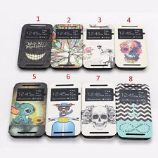 Luxury Cute Fashion Flip Series PU Leather Stand Skin Cover Case For HTC One M8