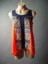 Orange Navy Blue Exotic Ethnic Design Swing Shell Cami Top 95 mv Blouse XS S M L