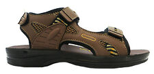 Gezer Brisbane Men's Brown Velcro Sandals With Adjustable Backstrap New