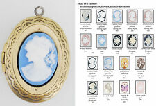 Medium oval locket, variety of inset cameo choices, matching necklace option