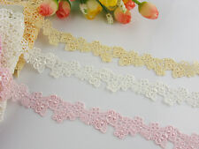 "(2cm)3/4""*1yard delicate Yellow/white/pink Venise flower lace trim for DIY"